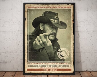 Lemmy Kilmister Motorhead Retro Vintage Art Deco Hard Rock Music Quote Print Poster