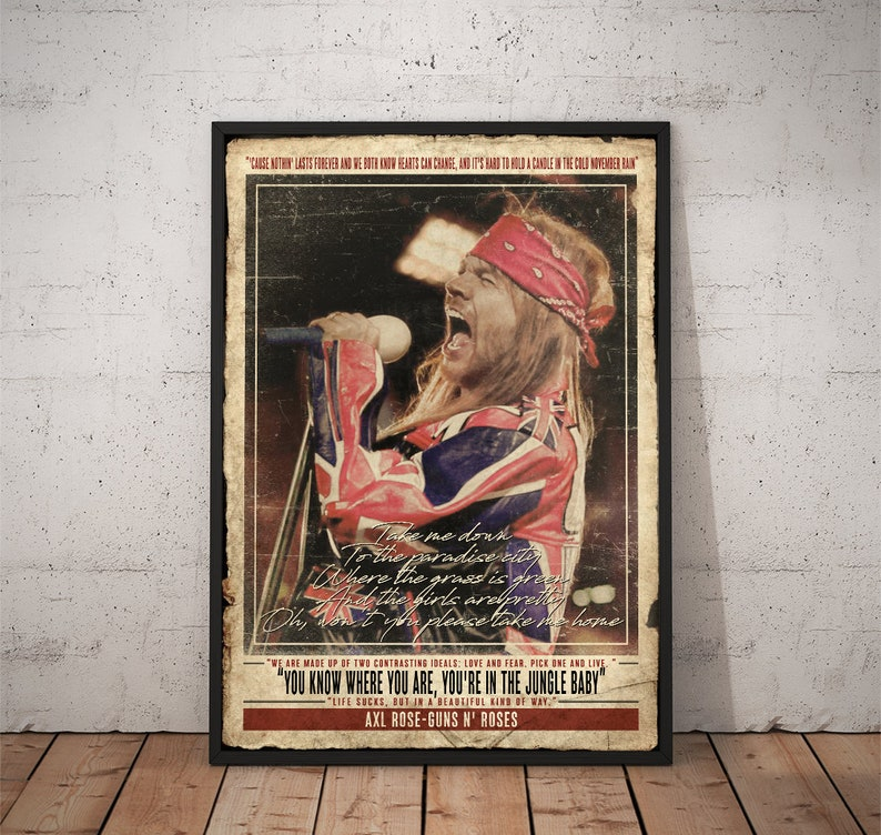 BUY 2 GET ANY 2 FREE AXL ROSE GUNS N ROSES POSTER ART PRINT A4 A3 SIZE