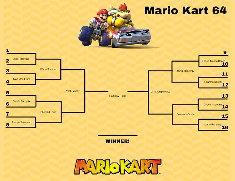 Mario Kart Tournament Brackets - 3 Brackets - 6 Versions each (For  different Nintendo types)