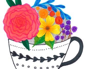 Flower Teacup - Joyful All-Occasion card