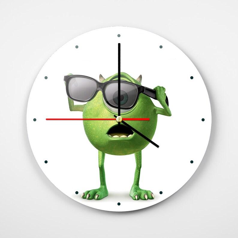 Monsters Inc Wall Clock Mike Wazowski Wall Art Disney Wall Etsy