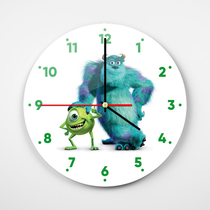 Monsters Inc Wall Clock Mike Wazowski Wall Art Sulley Wall Etsy