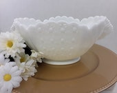 Fenton quot Daisy Button quot Milk Glass 9 quot Oval Bowl (1953-1959)