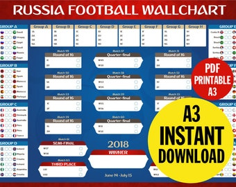 Russia 2018 World Cup Football Wallchart | Digital Download | Vector - Print Any Size | Soccer Vector Illustration | Copa Mundial de 2018