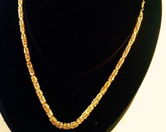 "18K Yellow Byzantine Fancy 19.75"" Length Square Chain"