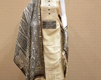 Casual Wear Beige Cotton Silk Printed Work Salwar Suit