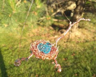 Robins Egg Nest Suncatcher Pure Copper Wire Wrapped Nest Sun Catcher
