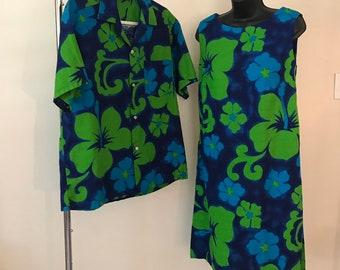 b151d3501b Vintage 1950s 1960s Matching His and Hers Hawaiian Honeymoon Set, Dress and Men's  Shirt