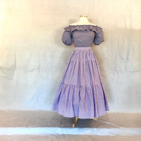 Vintage 1940s/50s Purple Gingham Two Piece Patio S