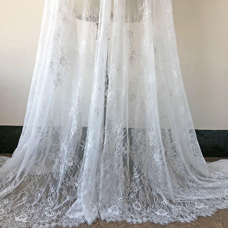Exquisite Eyelash Lace Black Chantilly Fabric French Jacquard Lace 3 Meter //pcs