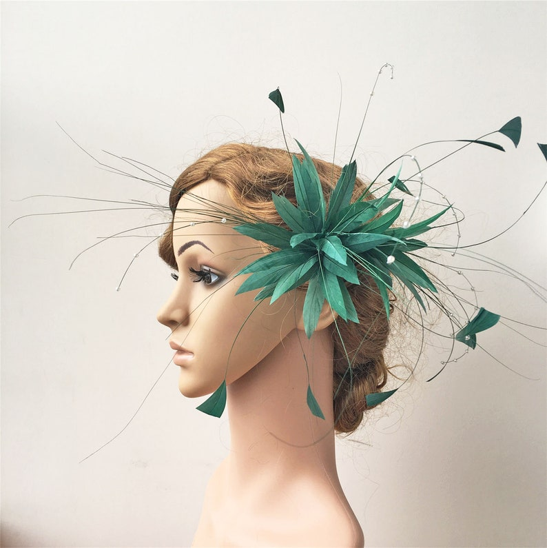 Royal Blue and Navy Blue Stripped Hackle Coque Feathers Costumes Fascinator Hats
