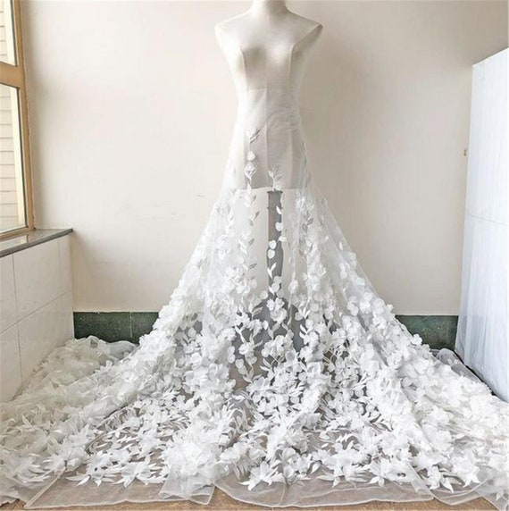 """59/"""" Floral Bridal Gown Lace Fabric Off White Embroidery Wedding Dress Fabric 1 M"""