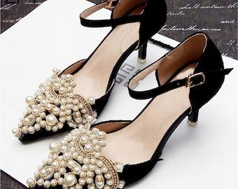 2PCS Pearl Crystal Rhinestone Shoe Clips Applique Diamante Appliques Sash Belt DIY Iron Glue on Shoes Bridal Wedding Dress Gown