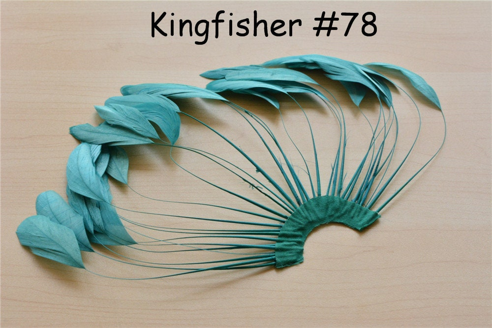 542e3fcd Kingfisher Stripped Coque Feather Fan Dyed Feathers Fringe | Etsy