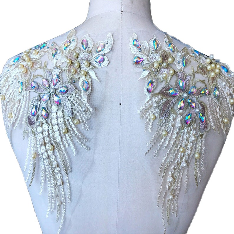 Rhinestone Embroidery Lace Applique 3D Flower Heavy Beads Motif  Lace Patch swing on Bridal Wedding Dress Gown Skirt 1 Pair