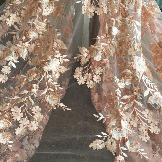 Pêche 3D fleur mariage broderie dentelle de mariage fleur Sequin poire matériaux tissus bricolage mariée robe de soirée pleine largeur 55