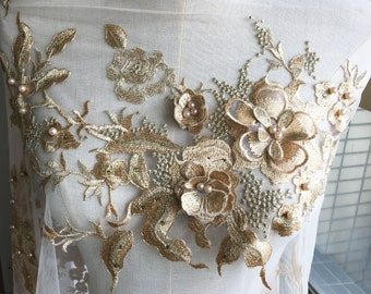 Gold Embroidery Lace Applique 3D Floral with Pear Beads Patches Materials Appliques Sewing on Wedding Evening Dress Gown Skirt 1 Piece