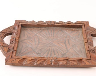 Carved Wooden Serving Tray from Mexico
