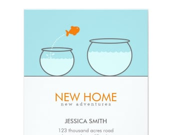 Cute Fish New Home Funny Announcement Card | Moving Announcement Template, Printable Invitation, Editable Download | DIGITAL or PRINTED