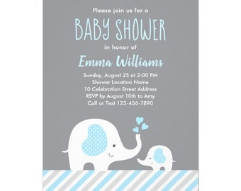 Cute Blue Gray White Elephant Animal Baby Shower Invitation for Boy Template, Printable Invitation, Editable Download | DIGITAL or PRINTED