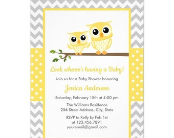 Yellow And Grey Baby Shower Invitations Etsy