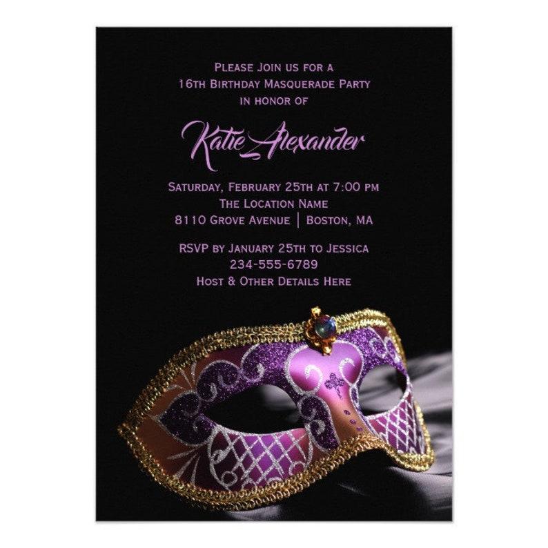 Elegant Black Purple Sweet 16 Masquerade Party Invitation Template Printable Editable Download