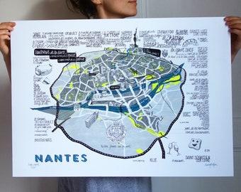 Plan de Nantes illustré
