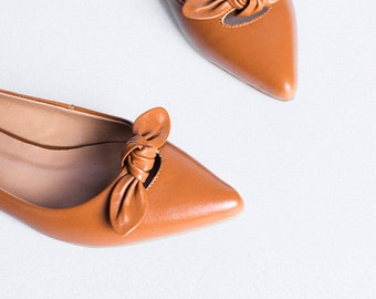 Sheep Leather Handmade bow Flats Women Shoes Elegant