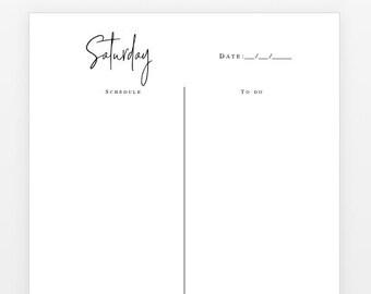 A4 printable undated 7 day week planner