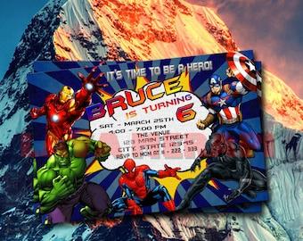Superhero Birthday Invitation, Avengers Birthday Invitation, Superhero Invitation, Superhero Birthday Party, Superheroes Birthday Invitation