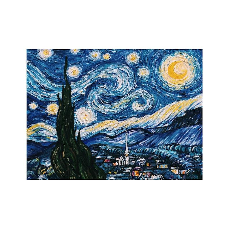 Nuit étoilée De Van Gogh à Lhuile Peinture Acrylique Sur Etsy