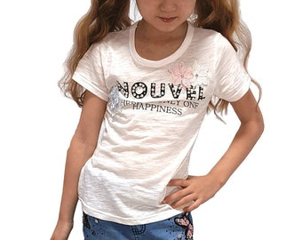 Kids girls Embroidered beaded tshirt