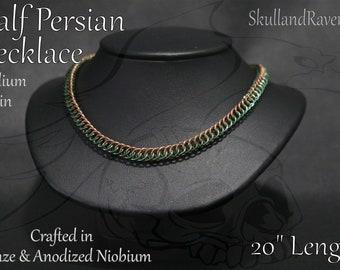 Half Persian Necklace - Bronze and Anodized Niobium (Green)