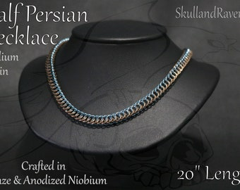 Half Persian Chainmail Necklace - Bronze and Anodized Niobium (Blue)