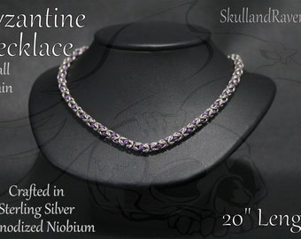 Byzantine Chainmail Necklace - Sterling Silver & Anodized Niobium