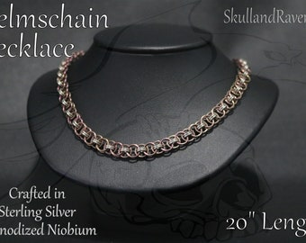 Helmschain Necklace - Anodized Niobium and Sterling Silver