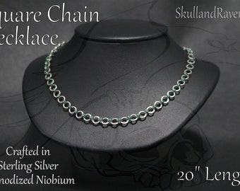 1 in 2 Chainmail Necklace - Sterling Silver & Anodized Niobium