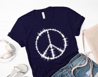 cfee07ef29249 Youth Peace Sign Shirt, Kids Peace TShirt, Hippie Gift, Girls Hippy T Shirt,  Boys Hippie TShirt, Boho TShirt, Navy