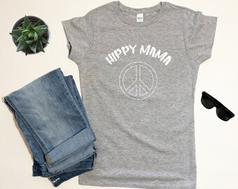 e12e39af2 Hippie Mom TShirt, Mother's Day Gift, Women's Fitted Peace Sign T Shirt,  Hippy Shirt, Hippy Mama TShirt, Boho Tshirt, Hippy Clothing, Grey