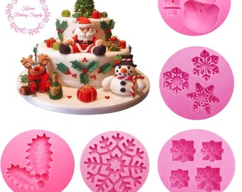 new arrival set of 5 christmas mold santa mold snowflake mold xmas mould fondant mold chocolate mold silicone mold gumpaste mold