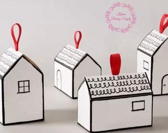 10pcs house shaped cookie box, gift box, white box, house warming gift