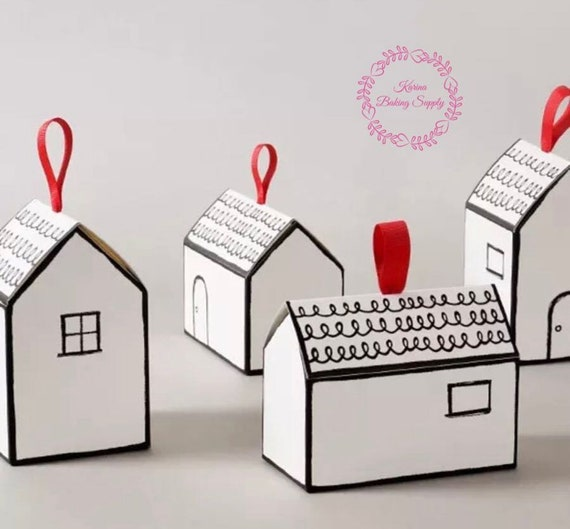 10pcs House Shaped Cookie Box Gift Box White Box House Warming Gift