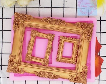 Vintage photo frame mold Frame filigree Silicone Mold Fondant mold gumpaste mold