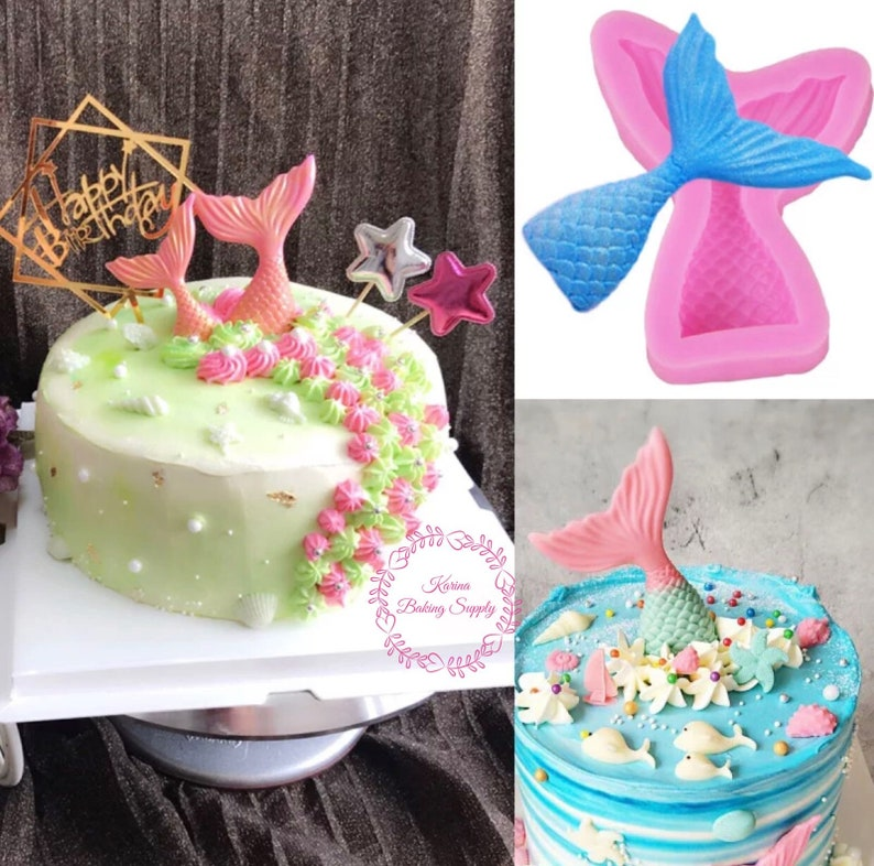 Mermaid cake fondant candle soap silicone mold sugarcraft baking