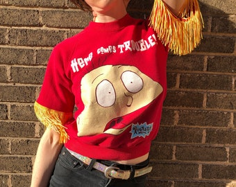 55cc2be4d9c 90s Rugrats Fringe Sleeved Upcycled Top Nostalgic Nickelodeon Y2K Vintage  Sweatshirt Short Sleeved