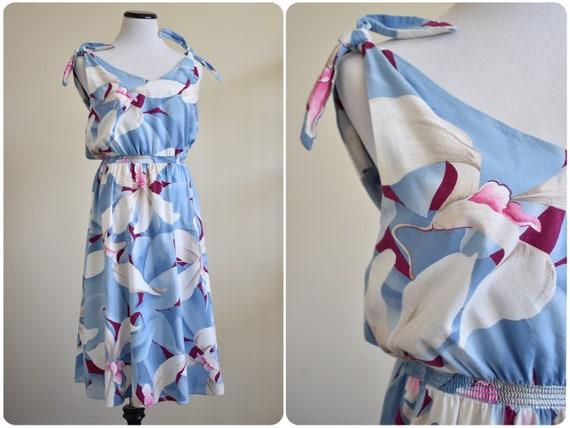 1970s Blue Hibisucus Shoulder Tie Hawaiian Dress /