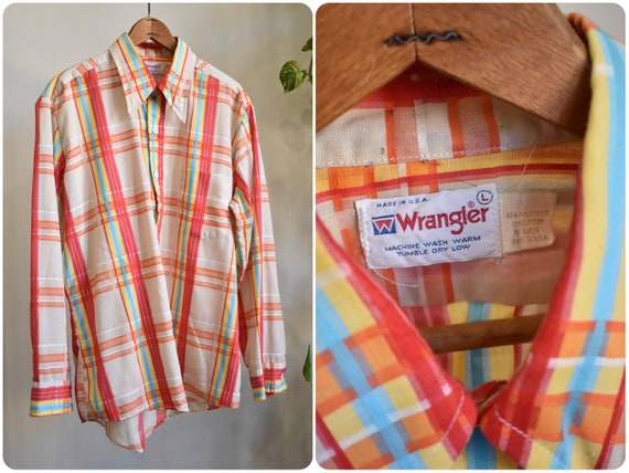 Vintage 60s 70s Wrangler Rainbow Plaid Button Up S