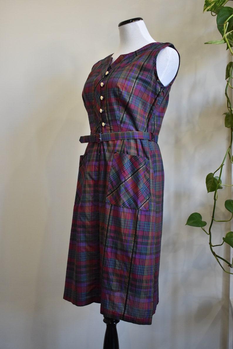 1960s Plaid Cotton Day Dress w Belt /& Pockets  Jewel Tone Plaid w Metallic Gold  Medium 38 Bust 30 Waist