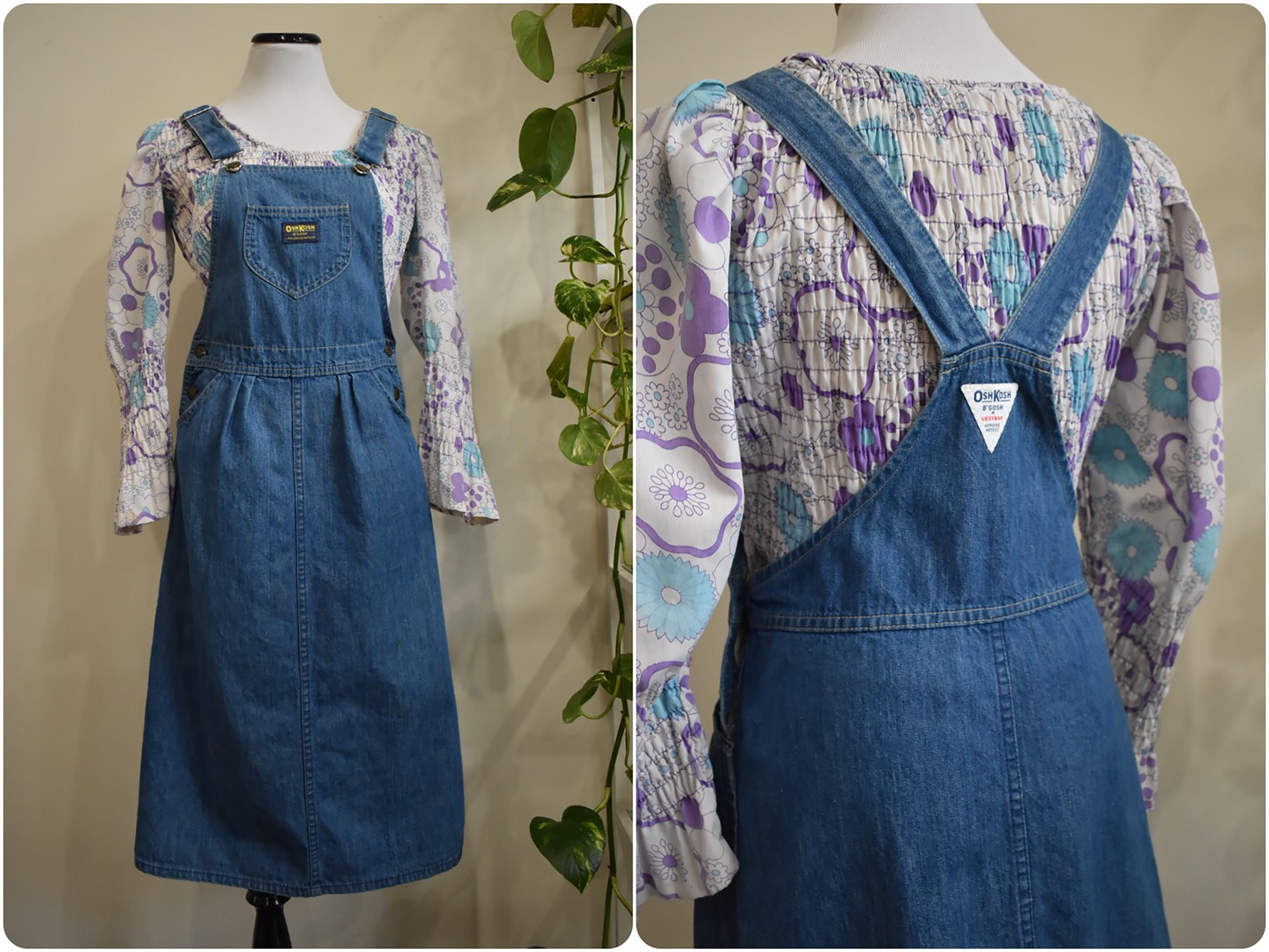 Vintage Overalls & Jumpsuits Vintage 70S Denim Jumper Dress  Oshkosh Bgosh Jean Overalls Small Medium $30.00 AT vintagedancer.com