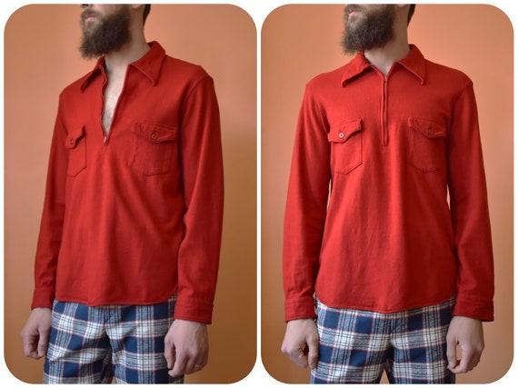 60s Pendleton Wool Cherry Red Half Zip Flannel Pul
